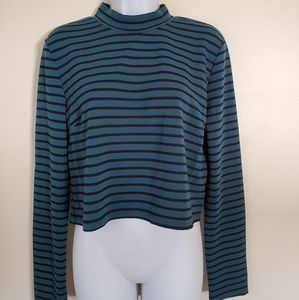 Nwt Forever 21 Teal Black striped LS crop top Lg